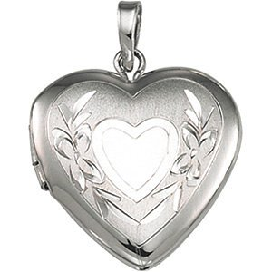 Sterling Silver Satin Heart Locket with Embossed Flowers