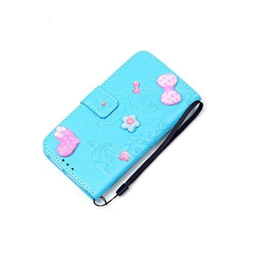 3D Paste Strass bowknot Liebe Drucken Design schutzhülle für Apple iPhone 7,PU Leder Wallet Handytasche Flip Case Cover Etui Schutz Tasche mit Integrierten Card Kartensteckplätzen und Ständer Funktion