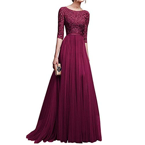 (Sttech1 Women Retro Evening Long Dress, Vintage Floral Lace 3/4 Sleeves Floor Length Cocktail Formal Bridesmaid Prom Gown Long Maxi Dress (M, Red))
