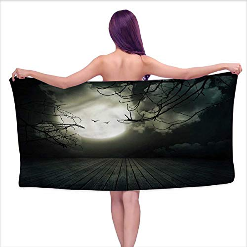 HMdy88PT Halloween Bath Towel Floor Leafless Branches Bathroom Towels Size: W 31.5