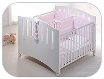 Zwillingsbett doppelbett  Zwillingsbett Gemini Kinderbett für Zwillinge Buchenholz weiß ...