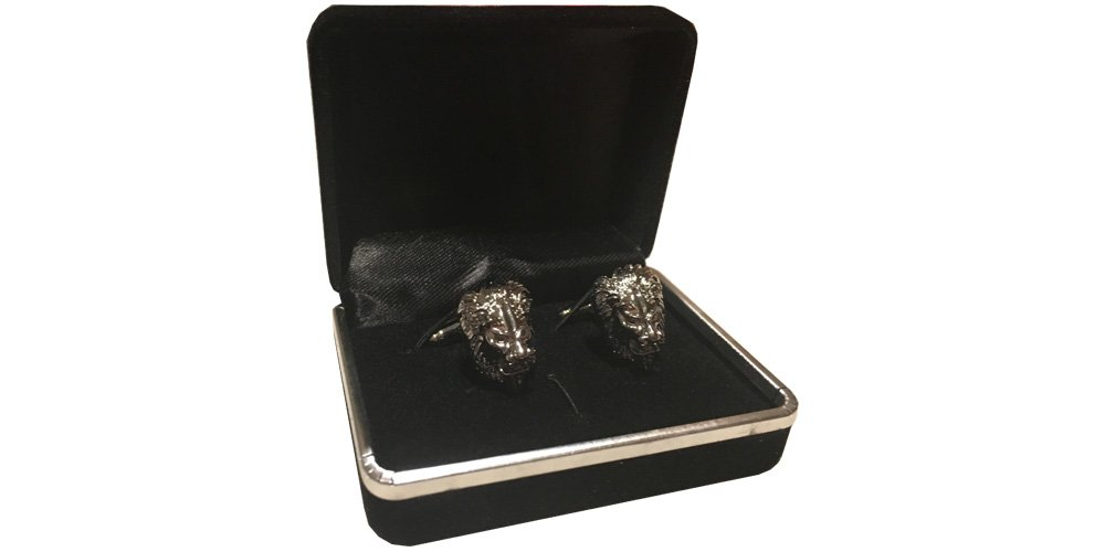 D&L Menswear Rhodium Plated Lion Head Cufflinks with Black Gift Box by D&L Menswear (Image #5)