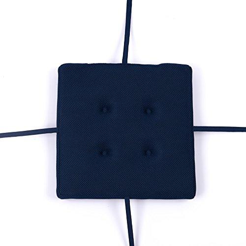 baibu Super Breathable Square Chair Pads Seat Cushions Navy Blue 16'' by baibu