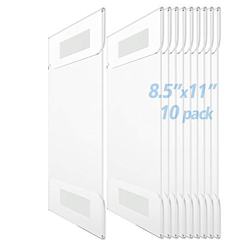 5 Pack Wall Mount 8.5x11 Acrylic Sign Holder,8 1//2 x 11 Clear Wall Mount Frame,Perfect for Office,Store,Restaurant,by Cq acrylic