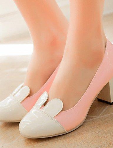 GGX/Damen Schuhe Patent Leder Sommer-/rund Toe Heels Büro & Karriere/Casual Chunky Ferse Split jointblack/Pink/ pink-us5 / eu35 / uk3 / cn34