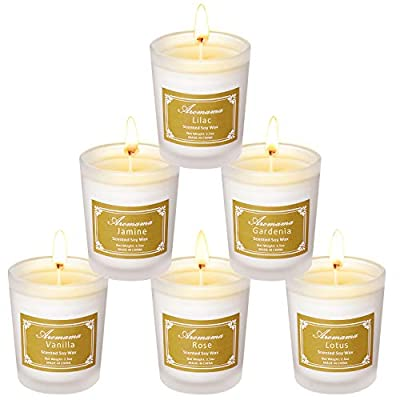 Aromama Pack of 6 Scented Candles Natural Soy Wax Aromatherapy Glass Candle Gift Set