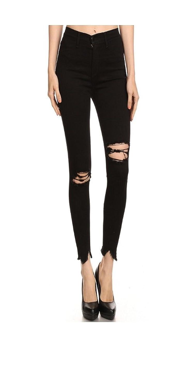 Women Plus Jeans HIGH RISE DESTROYED SHARK BITE Black
