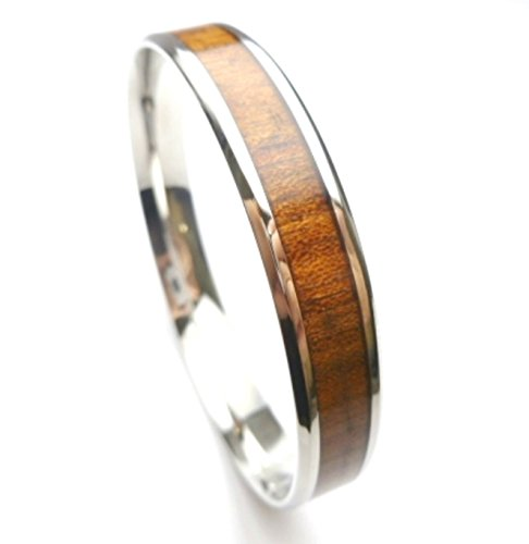 Stainless Steel, (6mm,8mm,10mm,12mm)Natural Koa Wood Bangle (W: 10mm, L: 8.5