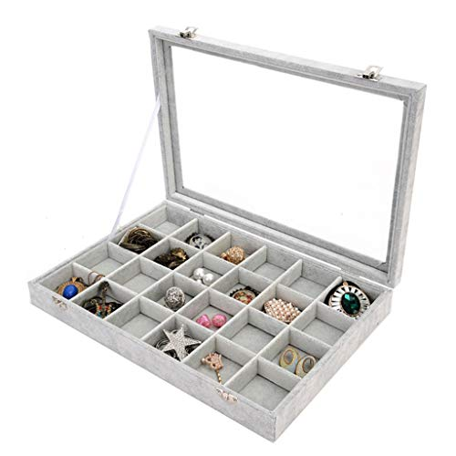 (Jewelry Showcase, Velvet Clear Lid 24 Grid Jewelry Tray Showcase Display Rings Earrings Box Organizer Jewelry Chest (Gray))