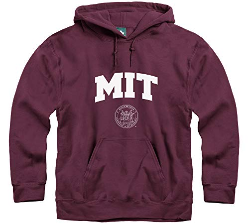 Ivysport MIT University Hooded Sweatshirt, Crest, Maroon, Large