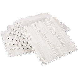 Zerone Exercise Floor Mats,30x30cm Imitation Wood Soft Foam Exercise Floor Mats Gym Garage Home Kids Play Mats Pad Pack of 9(White Wood Grain)