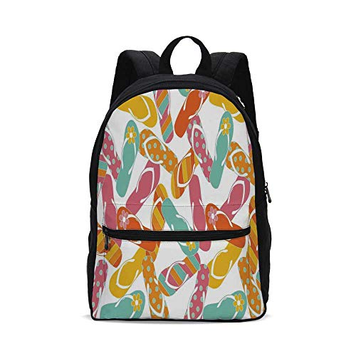 (Summer Fashion Canvas printed Backpack,Colorful Bunch Flip Flops Sandals Pattern Relax Holiday Sunbath Theme Groovy Graphic for school,One_Size)