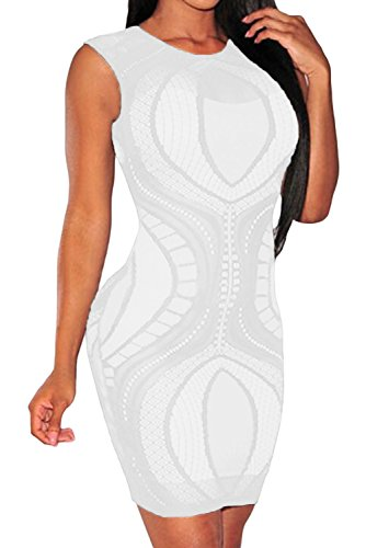 Cfanny Women's Lace Nude Illusion See Through Bodycon Dress,Sleeveless,S