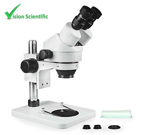 Vision Scientific VS-1E Binocular Zoom Stereo Microscope, 10x Widefield Eyepiece, 0.7x—4.5x Zoom Range, 7x—45x Magnification Range, Pillar Stand