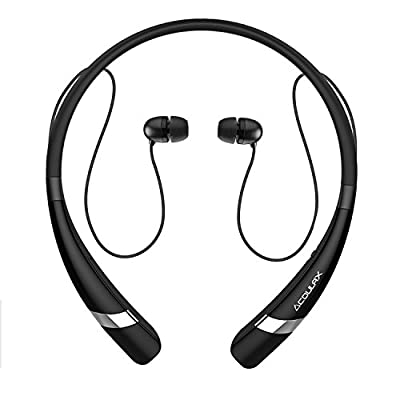 COULAX Bluetooth Headphones CX04 Wireless Neckband Headset Sweat Proof Sports Earbuds for Running with Mic 10 Hours Play Time, Bluetooth 4.1, CVC 6.0 Noise Cancelling-Updated Version