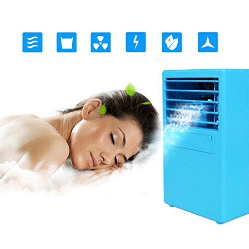 Mini Air Conditioner Fan,Personal Fan,Portable Air Conditioner Fan Mini Evaporative Air Circulator Cooler Humidifier For Outdoor Desktop Home (Blue, Product size: 5.69x9.54x3.93 (Solar Evaporative Cooler)