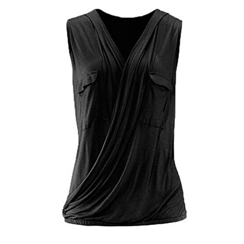 Cute Tops for Women,YEZIJIN Women Casual Solid Sleeveless with Pockets Cross Design Tank Blouse Shirt Tops 2019 Black -