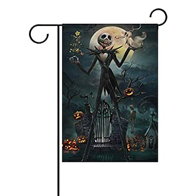 OAbear Decorative Garden Flag - Nightmare Before Christmas Decor Flags Jack Skellington Halloween Flag 12 x 18 Inch