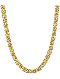 14k Yellow Gold 3.6 mm Square Byzantine Necklace