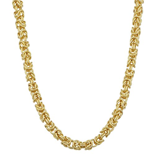 Kooljewelry 14k Yellow Gold 3.6 mm Square Byzantine Necklace (18 inch)