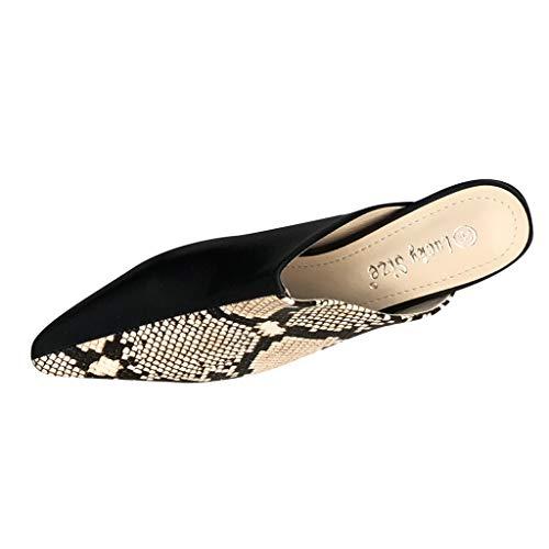 Women Sexy Snake Skin Pattern Pointed Toe Flats Slippers (Beige, ()