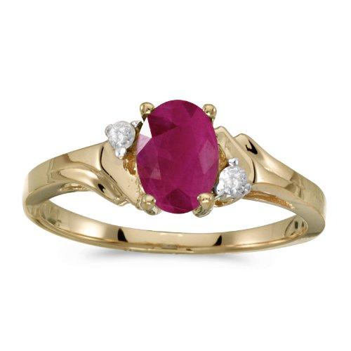 (14k Yellow Gold Oval Ruby And Diamond Ring (Size 11))