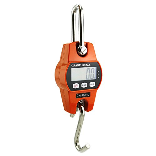 Outmate Mini Digital Crane Scale 300kg/600lbs with LED(Plastic Shell,Orange)