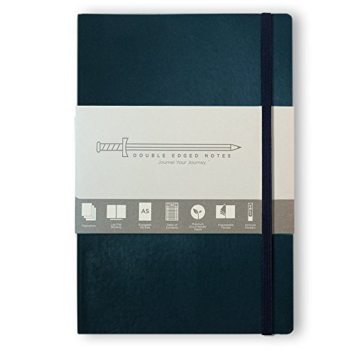 "Navy Softcover Journal with Ruled Pages: DIY Table of Contents, 185 Numbered Pages, Archival Stickers, Premium Paper 5.75"" x 8.25"", Interior Pocket, Bookmark. Perfect Bible Journal or Diary."