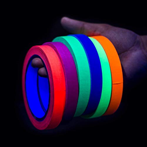 Professional Grade Quality Colored Gaffers Tape [Bigger Size] UV Blacklight  Reactive Fluorescent Gaff Tape | Glow Party Supplies | Neon Party | 6 Pack