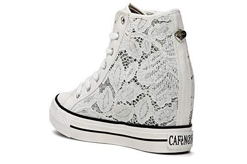 7cm Donna Tessuto 203 Zeppa Interna Macramè Sneakers In Cafènoir Per Bianco qUCSwPwx