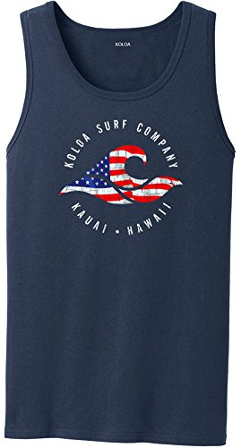Koloa Surf USA Flag Colors Logo Heavyweight Cotton Tank Top-Navy/c-M ()