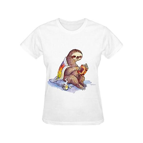 Reading Sloth Crew Neck T Shirt Women -