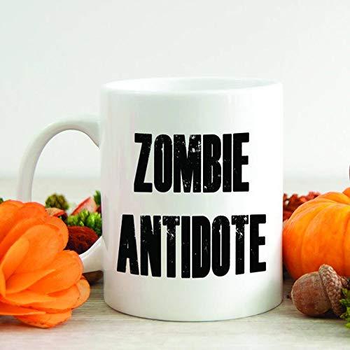 Fun Zombie Antidote Mug Halloween Coffee Mug Quote Mug Hot Chocolate Cup Birthday Gift Walking Dead Fan Gift Sublimated -