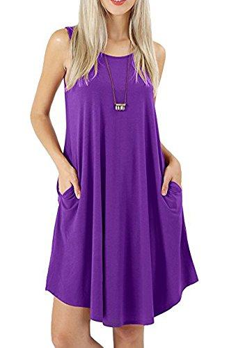 Price comparison product image Camisunny Plus Size Tunic Dress for Women Summer Sleeveless Casual Pleated Scope Neck Size XXL