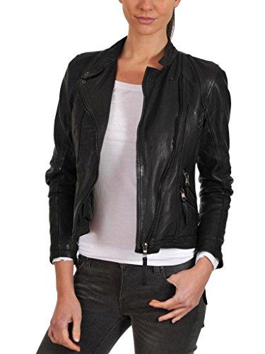 Leather4u Chaqueta de piel para mujer, piel de cordero, Negro LL810