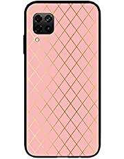 Okteq Clear TPU Protection and Hybrid Rigid Clear Back Cover Compatible with Huawei Nova 7i - golden lines pink