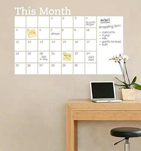 White board Wall Calendar Decal - 2'x3' Inches - Adhesive Non-Magnetic Wall Decal Calendar-Perfect Planner for Families, School, Goals, Work