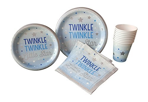 Twinkle Twinkle Little Star Blue Party Supplies Pack for 16 Guests Including: Large Plates, Small Plates, Napkins & Cups