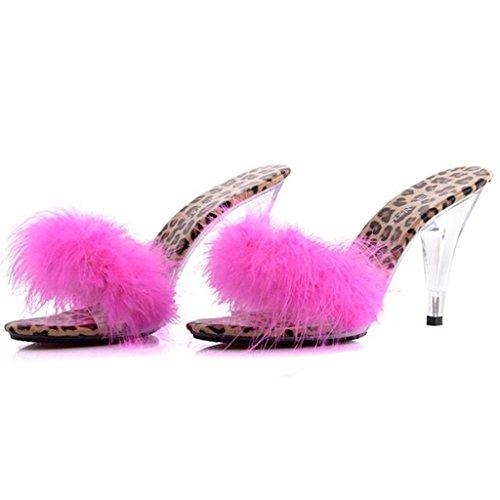 air Chaussures en à Fine Chaussures LLP Transparent Flip Sandales Avec Sandales C en Peluche Femmes Hauts piquer Talons Cristal Plein Flop wFqTZHv