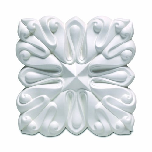 Focal Point 85438 Lotus Rosette 4 1/4-Inch by 4 1/4-Inch 11/16-Inch, Primed White