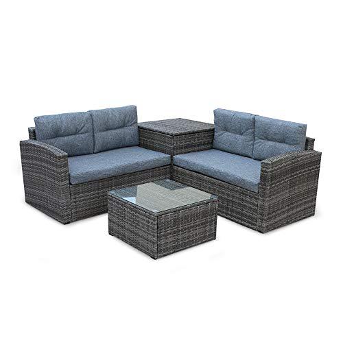 Decor Hut 4 Piece Outdoor Rattan Wicker Sofa Set Conversation Set – Patio Sunroom Lawn Backyard Garden (Grey Cushion)