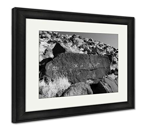 Giclee Matte Art (Ashley Framed Prints Native American Petroglyphs, Wall Art Home Decoration, Black/White, 26x30 (Frame Size), Black Frame, AG6310045)