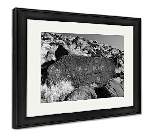 Ashley Framed Prints Native American Petroglyphs, Wall Art Home Decoration, Black/White, 26x30 (Frame Size), Black Frame, AG6310045