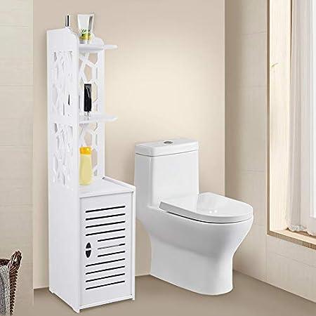 120 X26 X28CM Waterproof Bathroom Storage Cabinets Tallboy Narrow Bathroom Storage White Floor Free Standing Shelf Cupboard Storage Rack Tallboy Unit GOTOTOP Tall Bathroom Cabinet