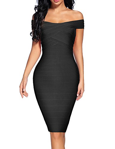 houstil Women's Off Shoulder Spaghetti Bandage Bodycon Dress Party (M, Black) ()