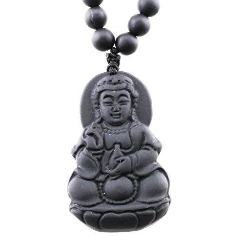 FOY-MALL Fashion Stone Needle Kwan-yin Buddha Pendant Necklace XL1381M]()