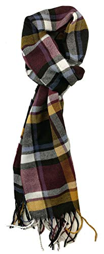 (Plum Feathers Plaid Check and Solid Cashmere Feel Winter Scarf (Plum-Black-Mustard) )