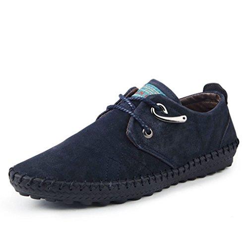 [QIFENGDIANZI]メンズシューズ カジュアルシューズ 紳士靴 レースアップ スエード 大人 フォーマル おしゃれ 通気性 屈曲性 ブラウン 黒 ブルー