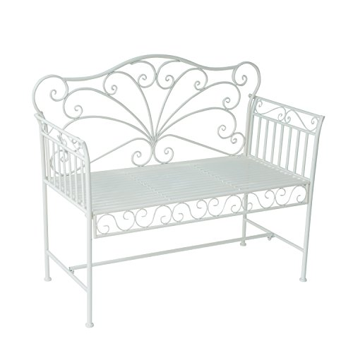 "Outsunny 43"" Antique Metal Outdoor Patio Garden Bench - Cream White (Bench Cream Garden Metal)"