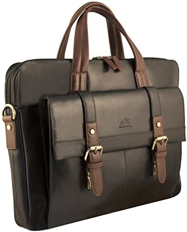 ZhiGe Briefcase,Leather Mens Business Tote Top Strap Diagonal Briefcase